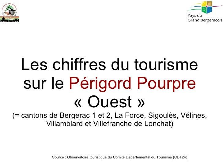 Les chiffres du tourisme sur le  Périgord Pourpre  «Ouest» (= cantons de Bergerac 1 et 2, La Force, Sigoulès, Vélines, V...
