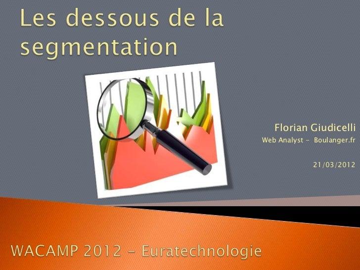 Florian GiudicelliWeb Analyst - Boulanger.fr              21/03/2012