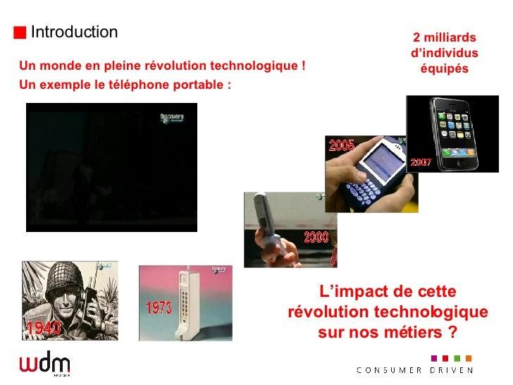 Introduction <ul><li>Un monde en pleine révolution technologique ! </li></ul><ul><li>Un exemple le téléphone portable :  <...