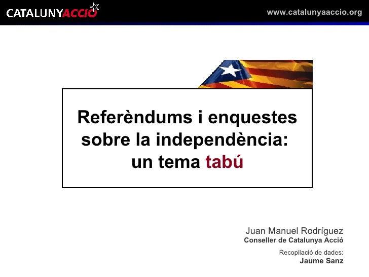 Referèndums i enquestes sobre la independència:  un tema  tabú Juan Manuel Rodríguez Conseller de Catalunya Acció Recopila...