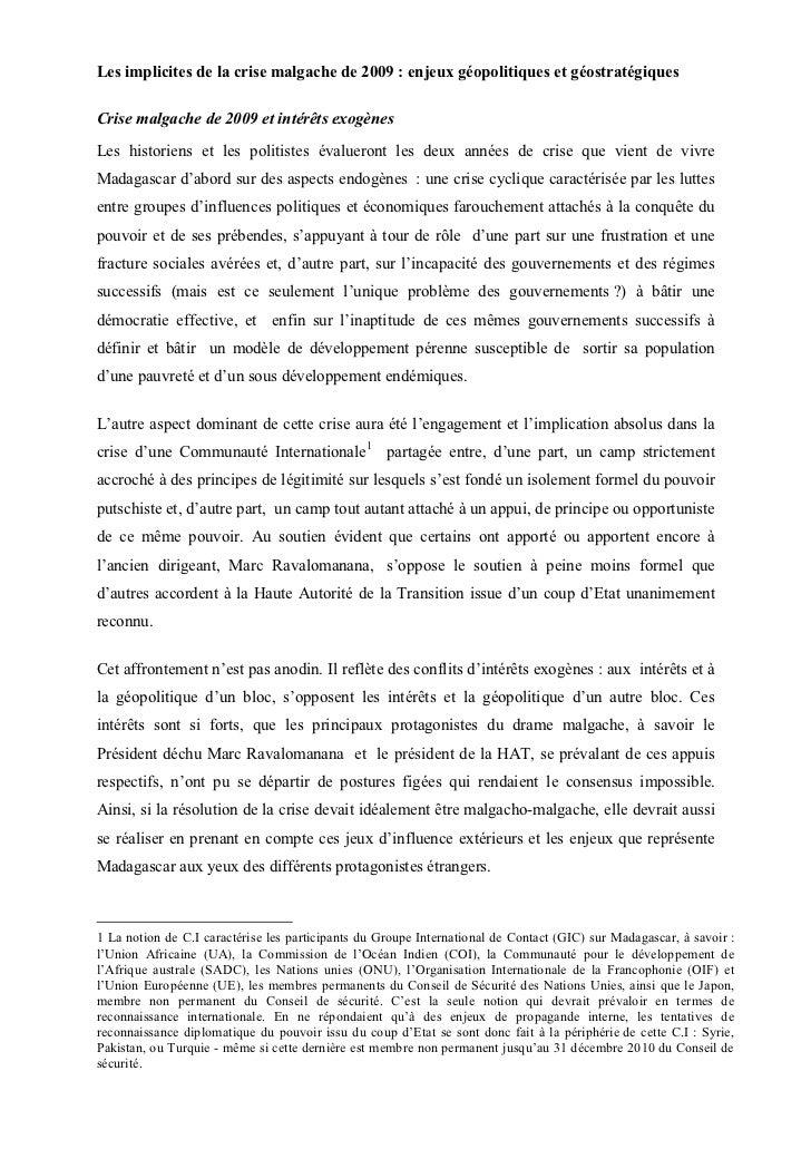 Les implicites de la crise malgache de 2009 : enjeux géopolitiques et géostratégiquesCrise malgache de 2009 et intérêts ex...