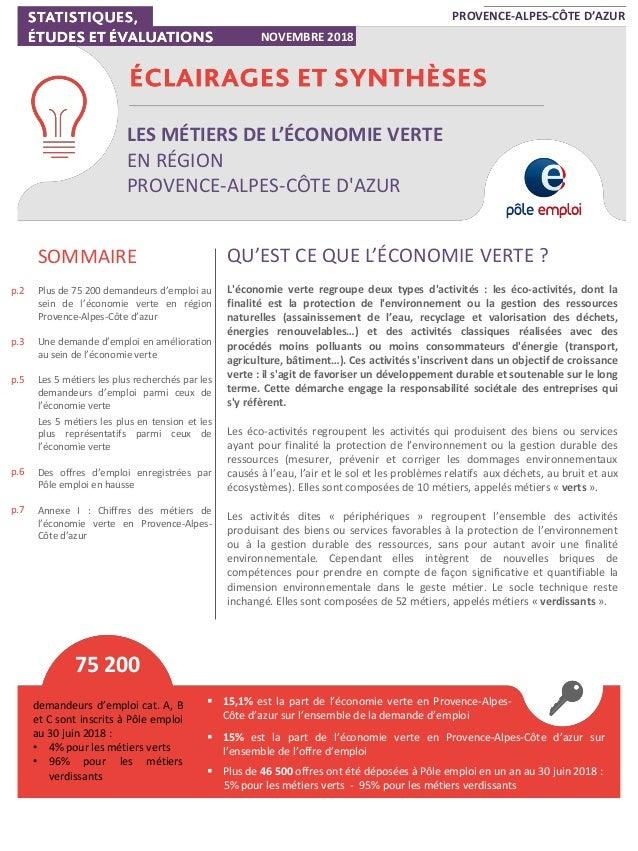 LES MÉTIERS DE L'ÉCONOMIE VERTE EN RÉGION PROVENCE-ALPES-CÔTE D'AZUR PROVENCE-ALPES-CÔTE D'AZUR NOVEMBRE 2018 p.2 p.3 p.5 ...