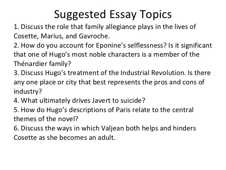 les miserables 50 suggested essay