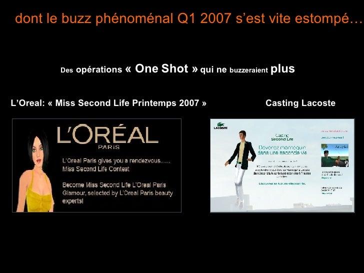 dont le buzz phénoménal Q1 2007 s'est vite estompé… Des  opérations  «One Shot»  qui ne  buzzeraient   plus L'Oreal: «M...