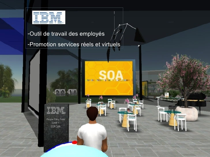 Second Life, September 2007 <ul><li>Outil de travail des employés </li></ul><ul><li>Promotion services réels et virtuels <...