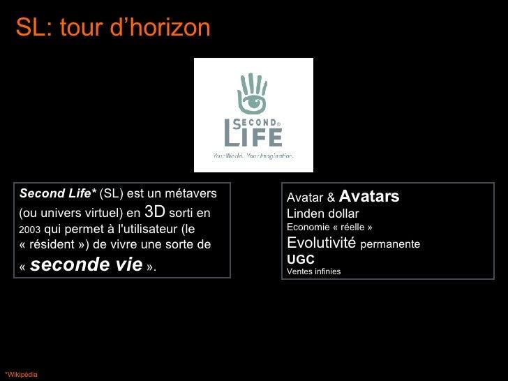 *Wikipédia Avatar &  Avatars Linden dollar Economie « réelle » Evolutivité  permanente UGC Ventes infinies Second Life*  (...