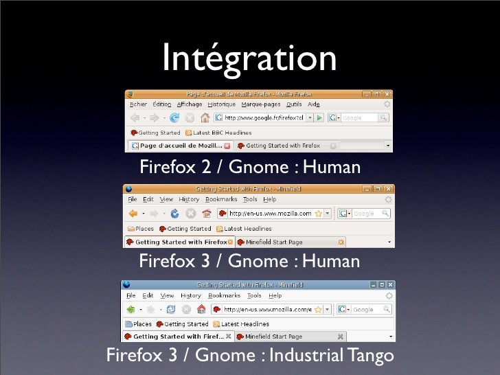 Intégration      Firefox 2 / Gnome : Human        Firefox 3 / Gnome : Human    Firefox 3 / Gnome : Industrial Tango