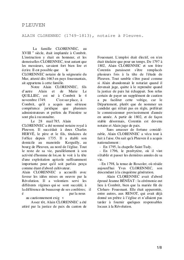 PLEUVEN ALAIN CLORENNEC (1749-1813), notaire à Pleuven. La famille CLORENNEC, au XVIII e siècle, était implantée à Combrit...