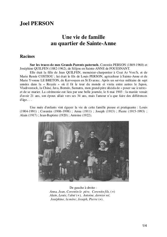 Joel PERSON Une vie de famille au quartier de Sainte-Anne Racines Sur les traces de mes Grands Parents paternels, Corentin...