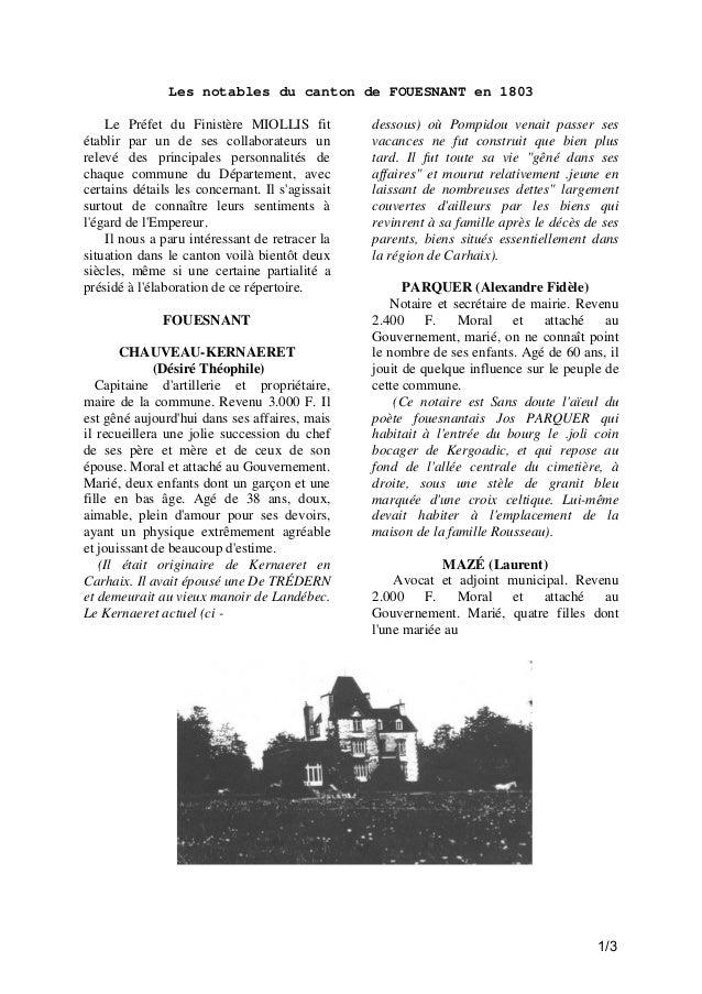Les notables du canton de FOUESNANT en 1803 Le Préfet du Finistère MIOLLIS fit établir par un de ses collaborateurs un rel...