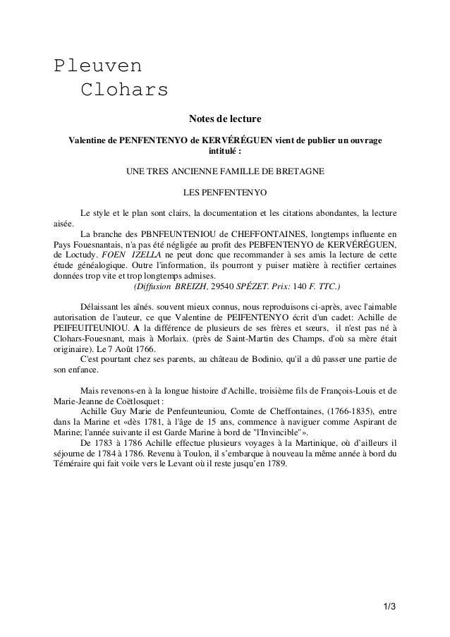 Pleuven Clohars Notes de lecture Valentine de PENFENTENYO de KERVÉRÉGUEN vient de publier un ouvrage intitulé : UNE TRES A...