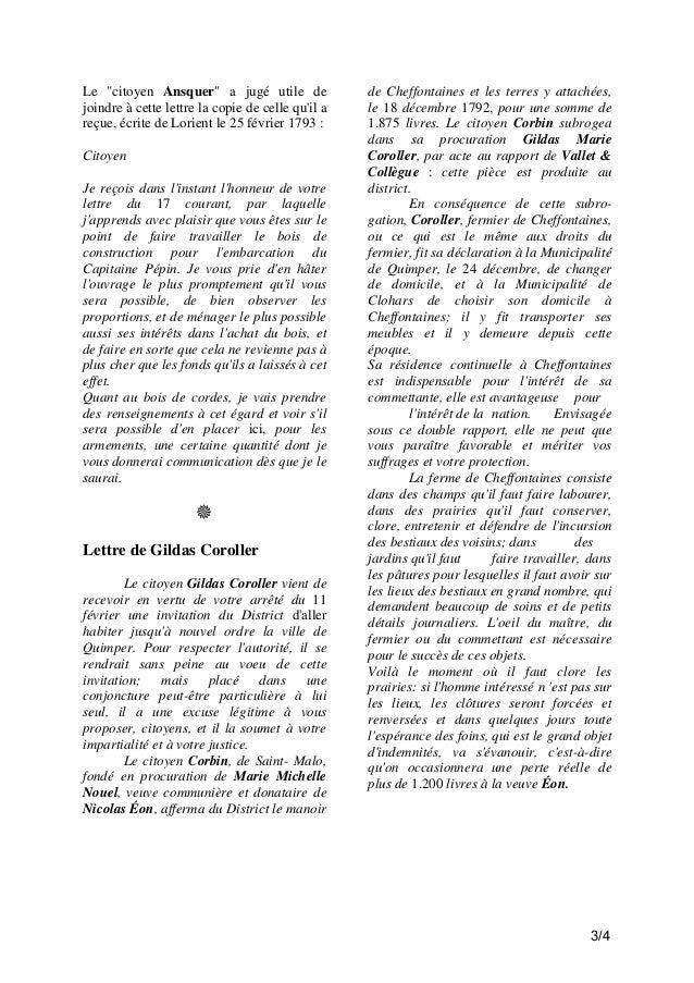 """Le """"citoyen Ansquer"""" a jugé utile de joindre à cette lettre la copie de celle qu'il a reçue, écrite de Lorient le 25 févri..."""
