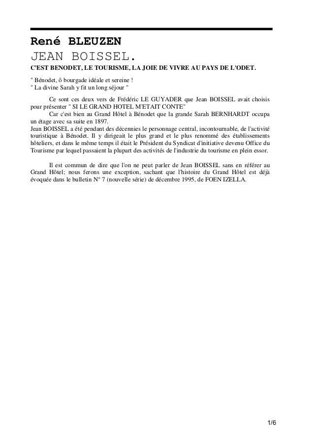 """René BLEUZEN  JEAN BOISSEL. C'EST BENODET, LE TOURISME, LA JOIE DE VIVRE AU PAYS DE L'ODET. """" Bénodet, ô bourgade idéale e..."""