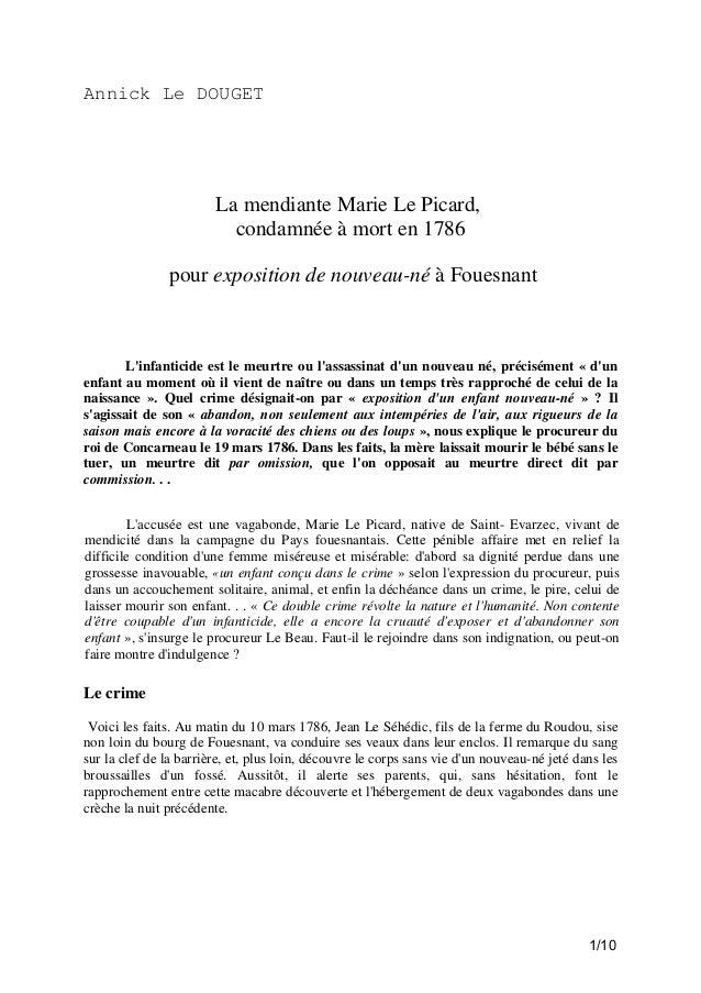 Annick Le DOUGET  La mendiante Marie Le Picard, condamnée à mort en 1786 pour exposition de nouveau-né à Fouesnant  L'infa...