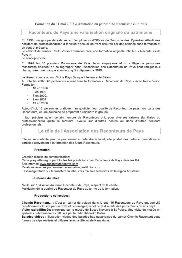 Formation du 31 mai 2007 « Animation du patrimoine et tourisme culturel »       Raconteurs de Pays:une valorisation origin...