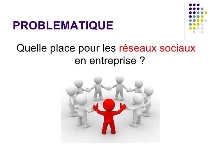 PROBLEMATIQUE <ul><li>Quelle place pour les  réseaux   sociaux  en entreprise ? </li></ul>