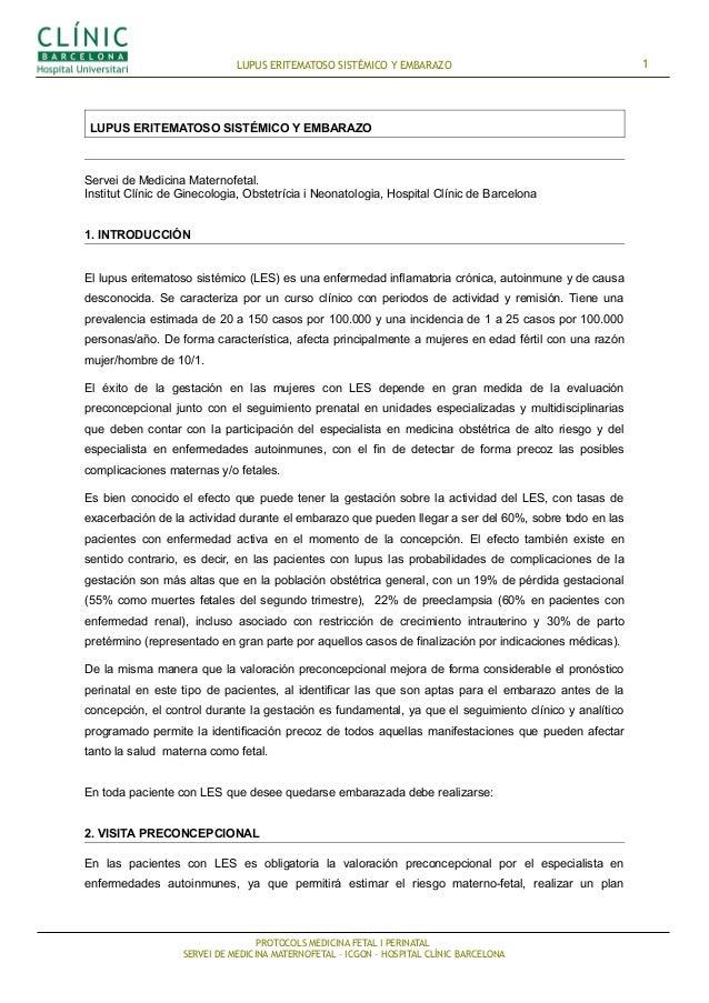 LUPUS ERITEMATOSO SISTÉMICO Y EMBARAZO  LUPUS ERITEMATOSO SISTÉMICO Y EMBARAZO  Servei de Medicina Maternofetal. Institut ...