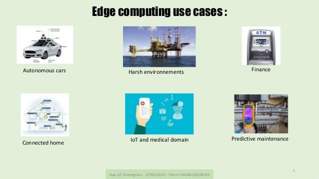 AwsIoTGreengrass--27/06/2019--PierreTHIEBAUGEORGES 5 Edge computing use cases : Autonomouscars Finance Connect...