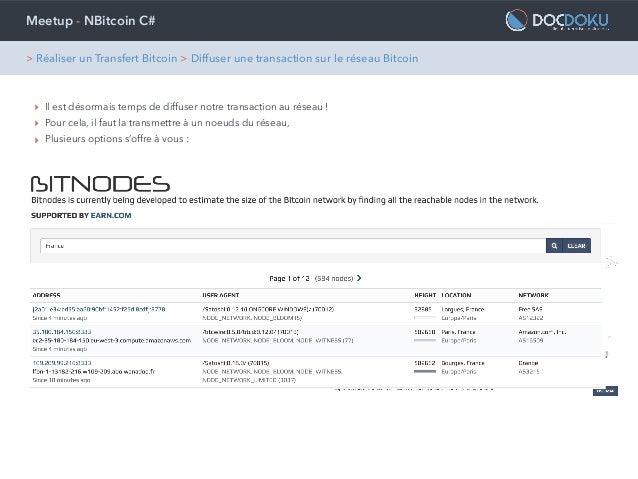 Meetup - NBitcoin C# ‣ Il est désormais temps de diffuser notre transaction au réseau ! ‣ Pour cela, il faut la transmettr...
