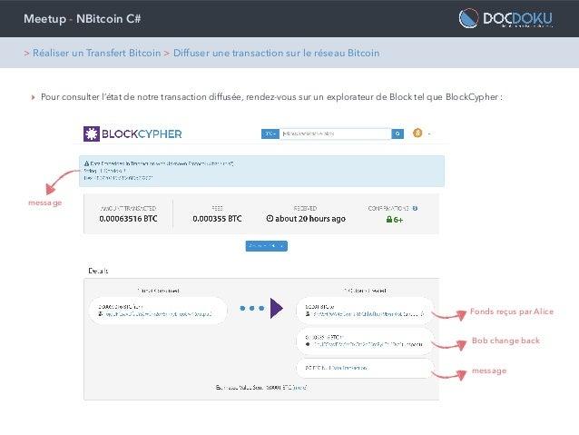 Meetup - NBitcoin C# ‣ Pour consulter l'état de notre transaction diffusée, rendez-vous sur un explorateur de Block tel qu...