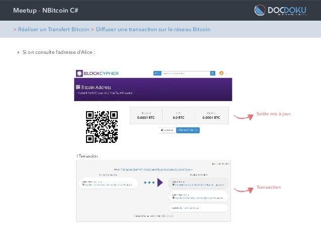Meetup - NBitcoin C# ‣ Si on consulte l'adresse d'Alice : Solde mis à jour Transaction > Réaliser un Transfert Bitcoin > D...