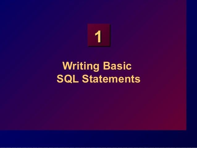 11 Writing Basic SQL Statements