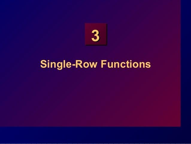 33 Single-Row Functions