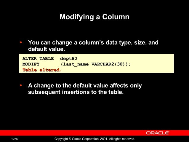 25.  sc 1 st  SlideShare & Creating and Managing Tables -Oracle Data base