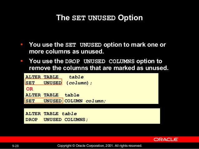 Creating and Managing Tables -Oracle Data base
