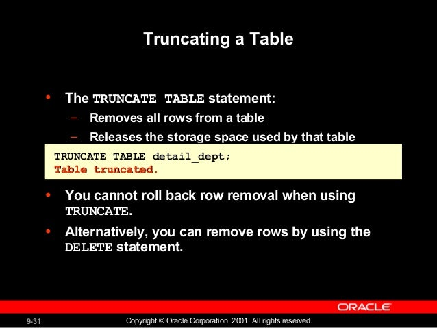 30.  sc 1 st  SlideShare & Creating and Managing Tables -Oracle Data base