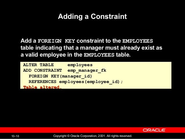 Including constraints oracle data base - Alter table add constraint primary key ...