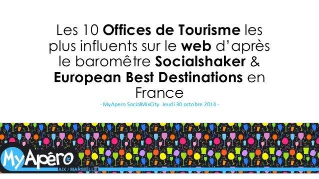 Les 10 Offices de Tourisme les plus influents sur le webd'après le baromêtreSocialshaker& EuropeanBest Destinations en Fra...