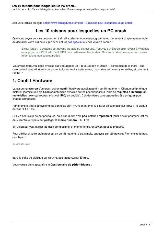 Les 10 raisons pour lesquelles un PC crash... par Michel - http://www.leblogduhacker.fr/les-10-raisons-pour-lesquelles-un-...