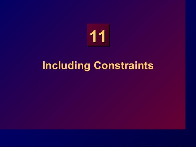 1111 Including Constraints