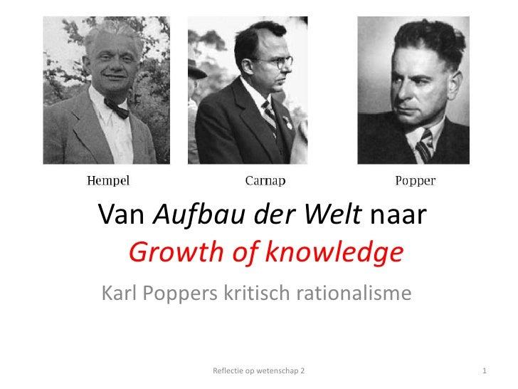 Van Aufbau der Welt naarGrowth of knowledge<br />Karl Poppers kritisch rationalisme<br />1<br />Reflectie op wetenschap 2<...