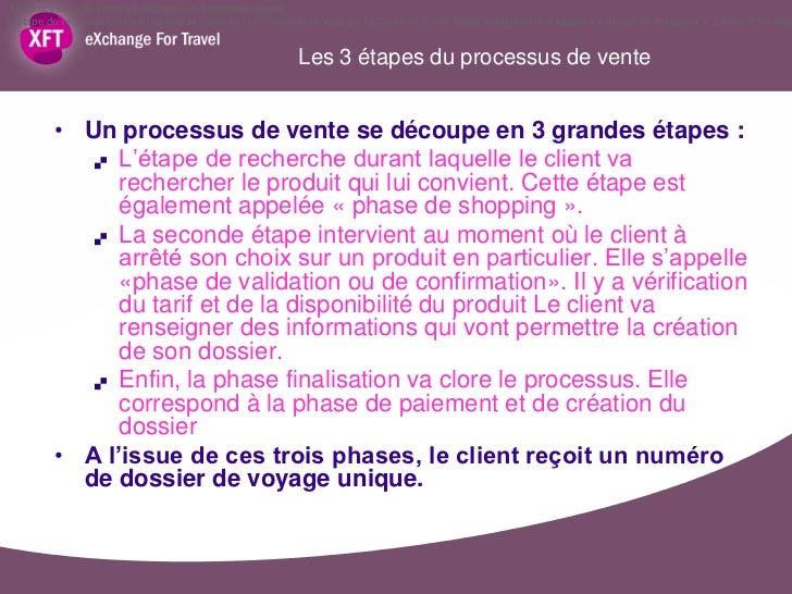 Un processus de vente se découpe en 3 grandes étapes :L'étape de recherche durant laquelle le client va rechercher le prod...