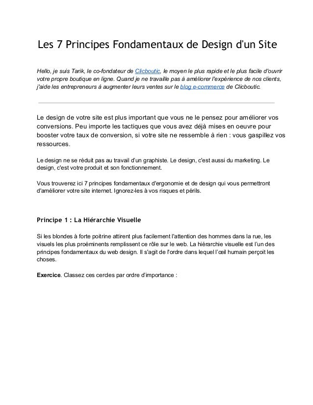 Les 7 Principes Fondamentaux de Design dun SiteHello,jesuisTarik,lecofondateurdeClicboutic,lemoyenleplusrapid...