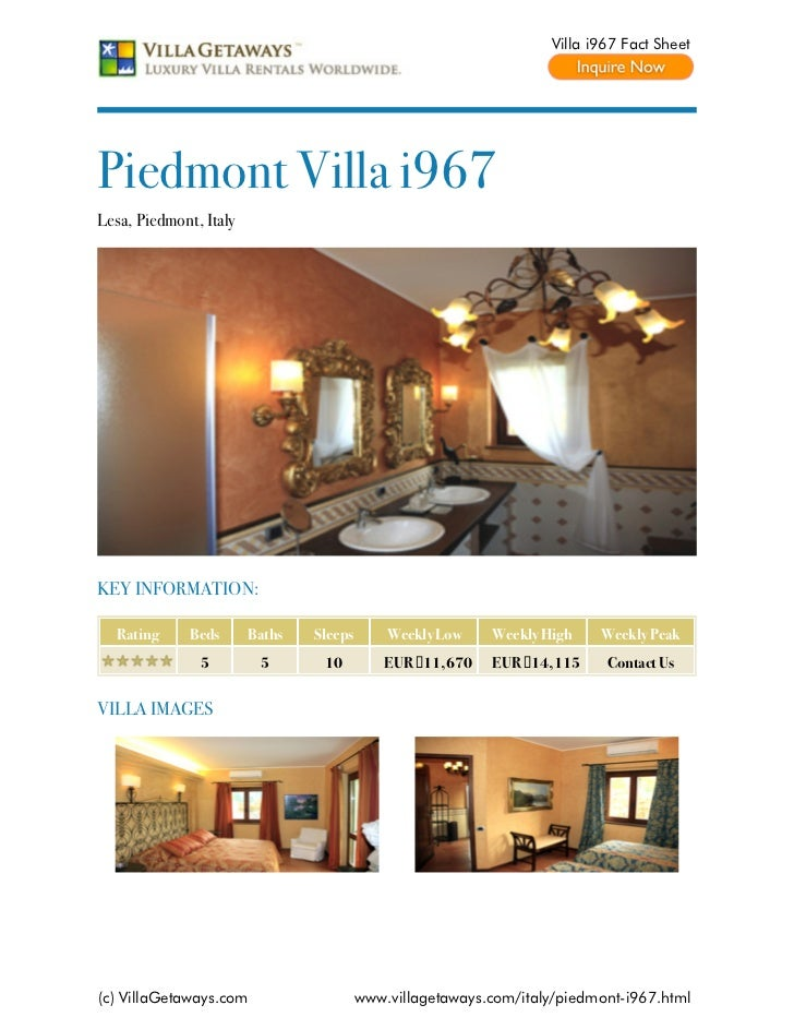Villa i967 Fact SheetPiedmont Villa i967Lesa, Piedmont, ItalyKEY INFORMATION:  Rating      Beds      Baths   Sleeps       ...