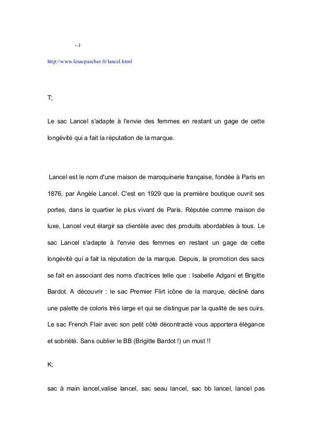 --1  http://www.lesacpascher.fr/lancel.html  T;  Le sac Lancel s'adapte à l'envie des femmes en restant un gage de cette  ...