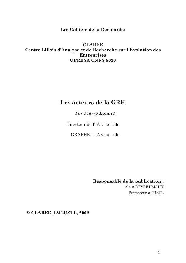Les Cahiers de la Recherche                          CLAREECentre Lillois d'Analyse et de Recherche sur l'Evolution des   ...