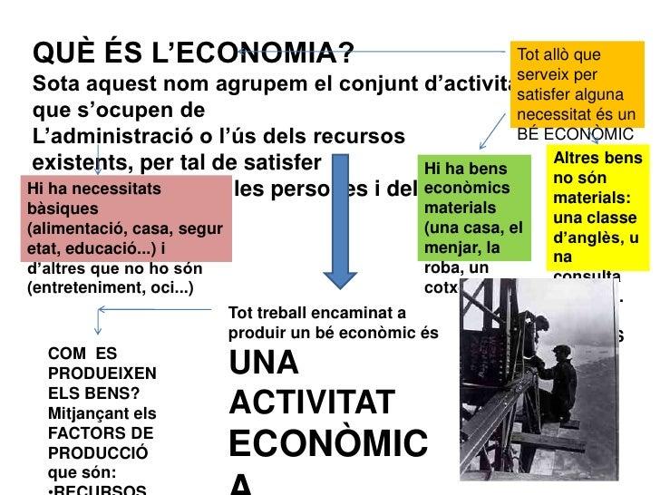 QUÈ ÉS L'ECONOMIA?<br />Sota aquest nom agrupem el conjunt d'activitats que s'ocupen de<br />L'administració o l'ús dels r...