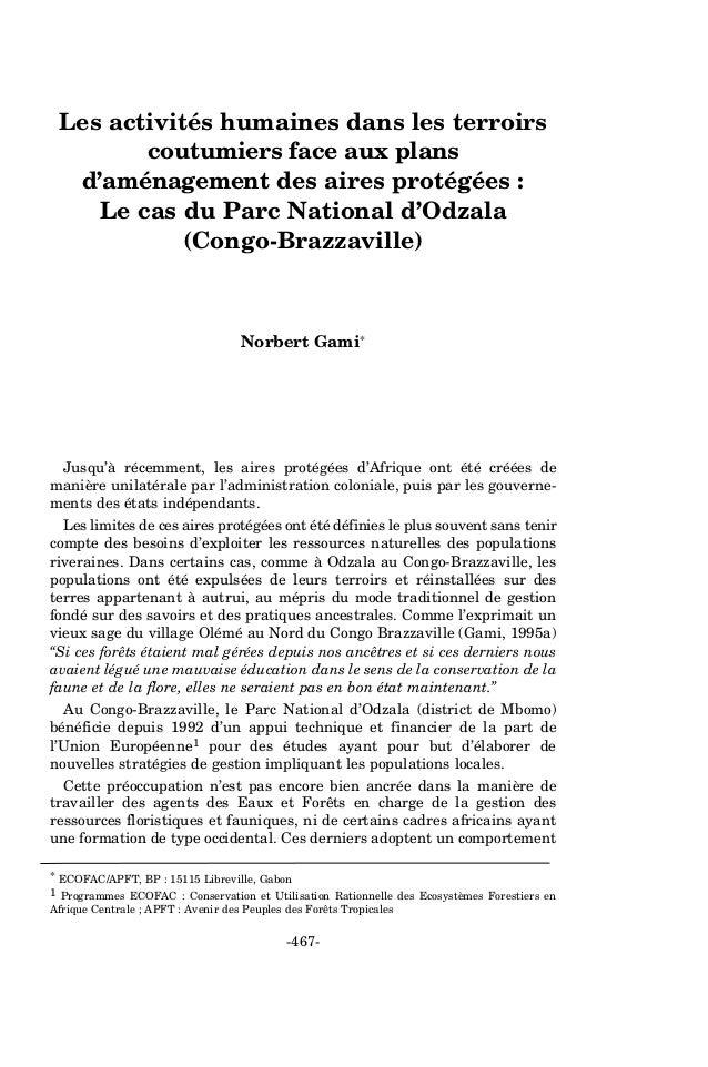 Les activités humaines dans les terroirs  coutumiers face aux plans  d'aménagement des aires protégées :  Le cas du Parc N...