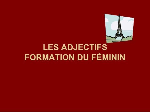 LES ADJECTIFSFORMATION DU FÉMININ