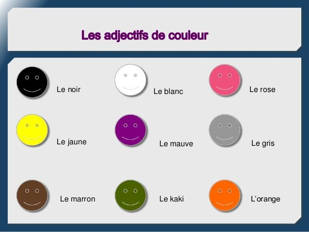 les adjectifs de couleur. Black Bedroom Furniture Sets. Home Design Ideas