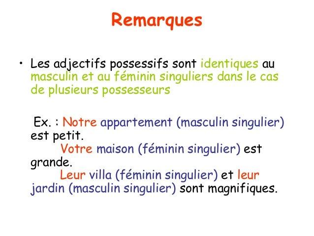 Remarques • Les adjectifs possessifs sont identiques au masculin et au féminin singuliers dans le cas de plusieurs possess...