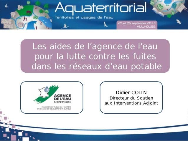 Les aides de l'agence de l'eau pour la lutte contre les fuites dans les réseaux d'eau potable Didier COLIN Directeur du So...