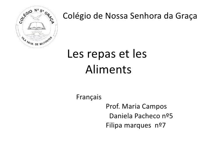 Colégio de Nossa Senhora da Graça Les repas et les    Aliments   Français              Prof. Maria Campos               Da...