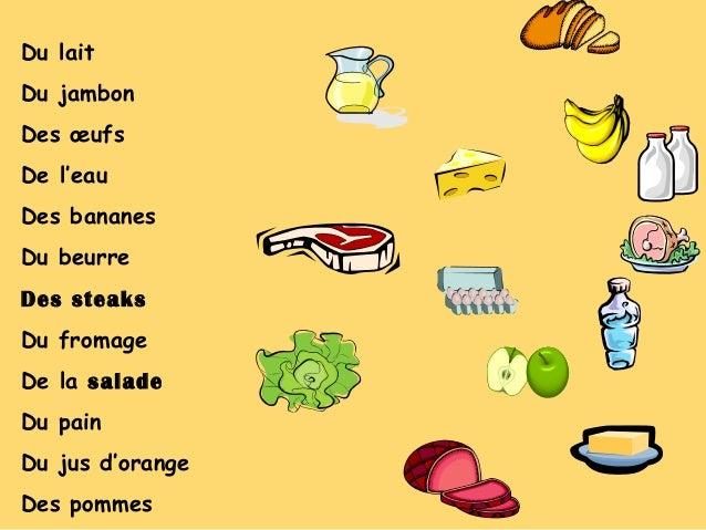 Du lait Du jambon Des œufs De l'eau Des bananes Du beurre Des steaks Du fromage De la salade Du pain Du jus d'orange Des p...