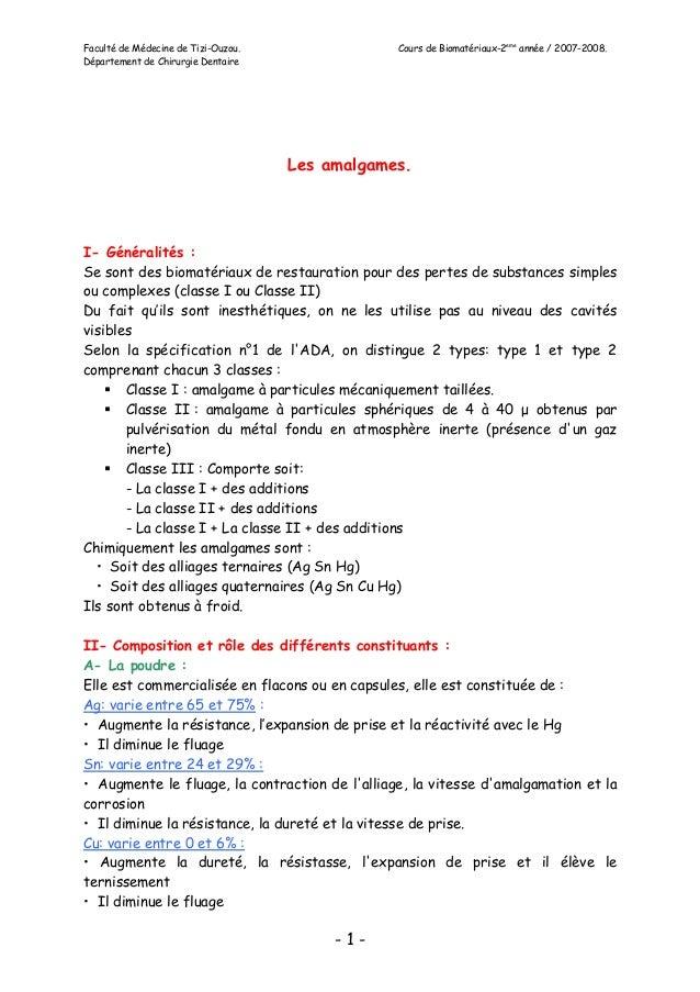Faculté de Médecine de Tizi-Ouzou. Cours de Biomatériaux-2eme année / 2007-2008. Département de Chirurgie Dentaire - 1 - L...