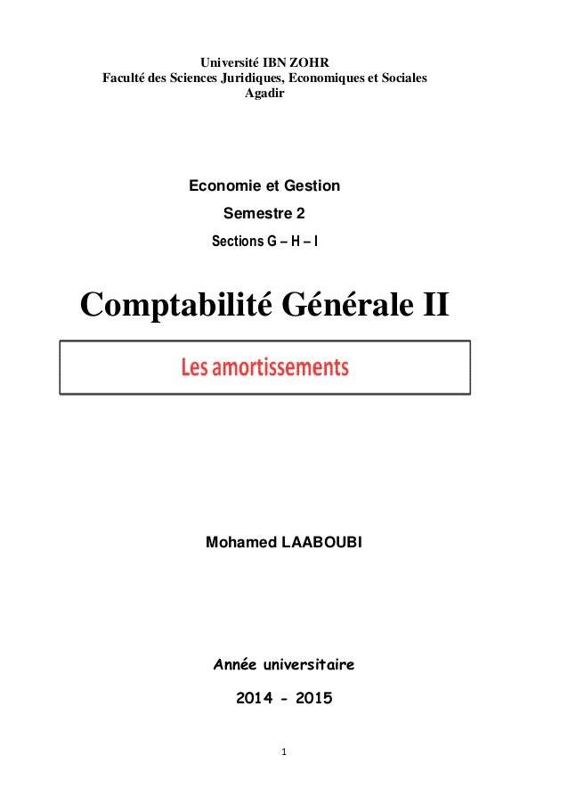 1 Université IBN ZOHR Faculté des Sciences Juridiques, Economiques et Sociales Agadir Economie et Gestion Semestre 2 Secti...